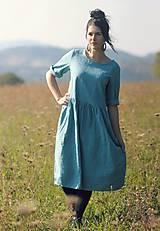 Šaty - Tyrkysově modré šaty lněné - 10137536_