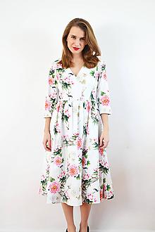 Šaty - Biele bavlnené šaty s pivonkami a vtáčikmi - 10137219_