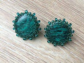 Náušnice - Smaragdové kamarátky - 10137592_