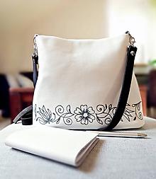 """Kabelky - MILA """"Ornament"""" biela kožená kabelka - 10142478_"""
