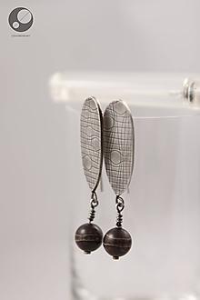 Náušnice - Strieborné náušnice s textúrou a tibetským achátom - 10145709_