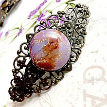 Ozdoby do vlasov - Vintage Filigree Violet Ocean Jasper French Hair Clip / Vintage francúzska spona s fialovým oceánskym jaspisom /1173 - 10144235_