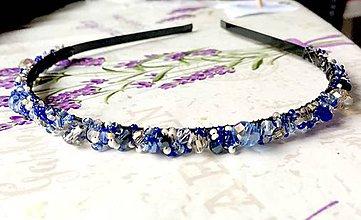Ozdoby do vlasov - Blue & Satin Beaded Headband / Korálková čelenka /1174 - 10144516_