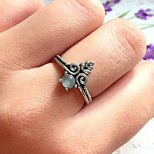 Prstene - Filigree Aquamarine Ring / Jemný vintage prsteň s akvamarínom /1179 - 10145174_