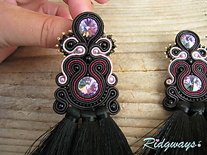 Náušnice - Tassels collection...soutache (Black/Crystal Vitrail Light) - 10146184_