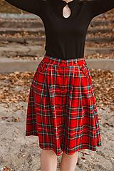 Sukne - Sukně Zora s traky a gombiky červená kostka (S) - 10142935_