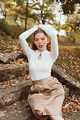 Sukne - Sukně Zora s traky a gombiky béžová - 10142997_