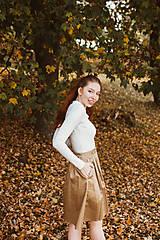 Sukne - Sukně Zora s traky a gombiky béžová - 10142998_