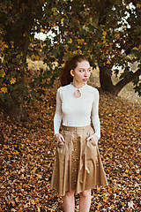 Sukne - Sukně Zora s traky a gombiky béžová - 10142999_