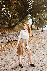 Sukne - Sukně Zora s traky a gombiky béžová - 10143000_