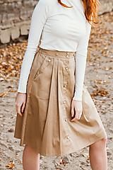 Sukne - Sukně Zora s traky a gombiky béžová - 10143002_