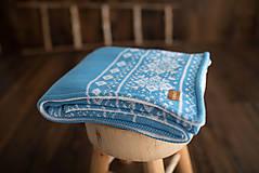 """Textil - Detská deka,""""Nórsky vzor"""", OEKO-TEX® - TyrkysovoModrá-Biela - 10145536_"""