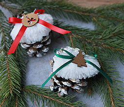 Dekorácie - kožušinka_ vianočné ozdoby (Červená) - 10142777_