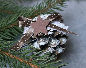 Dekorácie - vianočné ozdoby _ hnedá hviezdička - 10143972_