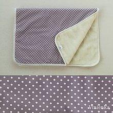 Úžitkový textil - Deka/ prikrývka 100% Merino TOP a 100% bavlna BODKA hnedá 140 x 210 cm - 10142919_