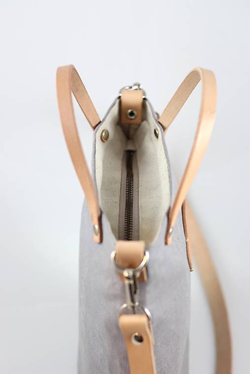 Štýlová crossbody kabelka z nepremokavého šedého ľanu