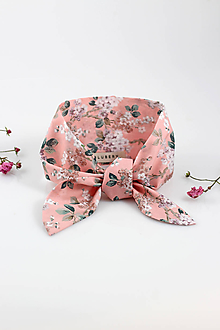Šatky - Pôvabná ružová kvetinová šatka na krk