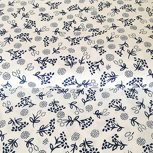 modrotlačové kvety, 100 % bavlna, šírka 140 cm