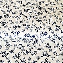 Textil - modrotlačové kvety, 100 % bavlna, šírka 140 cm - 10143090_