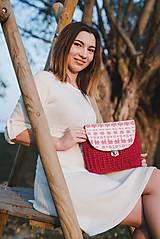 Kabelky - Kabelka červeno - bielej farby - 10146685_