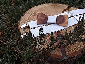 Doplnky - Pánsky drevený motýlik a traky - 10146441_