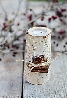 Dekorácie - svietnik drevený brezový - 10147675_