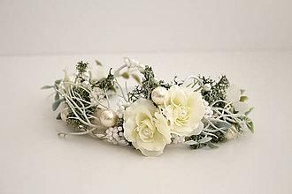 Ozdoby do vlasov - Kvetinová korunka ,,zimná,, - 10145757_