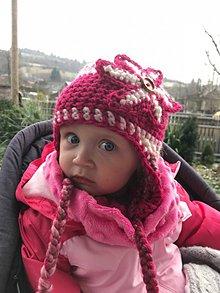 Detské čiapky - Čiapka detská hačkovaná bielo -ružová - 10144439_