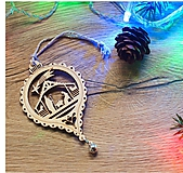 Dekorácie - Vianočné drevené ozdoby v krabičke - Strieborné s rolničkami 24 ks - 10143557_