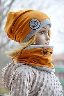 Detské súpravy - Zimný set Javorový list & horčicový - 10147973_