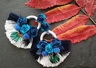 Náušnice - Bielo modré hoop nausnicky - 10145270_