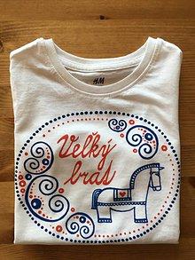 """Detské oblečenie - Maľované ľudovoladené s koníkom a nápisom """"Malý braček"""" (Tričko (veľkosti 98-134)) - 10143693_"""