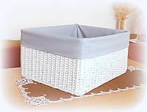 Košíky - Košík so šedou látkou a otvorom - 10144074_