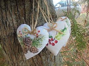 Dekorácie - Vianočné srdiečka režné-2 - 10143141_