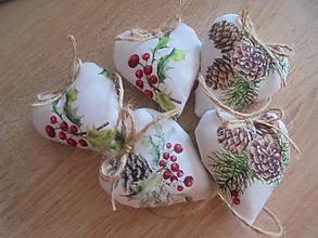 Dekorácie - Vianočné srdiečka režné malé - 10143331_