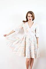Šaty - Bavlnené pastelové šaty s romantickou krajkou - 10147586_