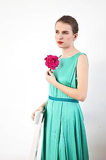 Šaty - Dlhé zelené viskózne šaty - 10147683_
