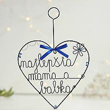 Dekorácie - najlepšia mama a babka - veľké ♥ (Modrá) - 10149603_