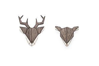 Odznaky/Brošne - Drevená brošňa Doe & Deer Set - 10149279_