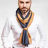 Doplnky - Pánsky exkluzívny ľanový šál s koženým remienkom - 10148517_