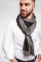Doplnky - Pánsky exkluzívny ľanový šál s koženým remienkom - 10150325_