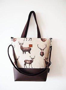 Veľké tašky - Veľká taška - jeleni s hnedou koženkou - 10149291_