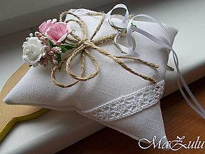"""Prstene - svadobný vankúšik """"vintage"""" VI. - 10148874_"""