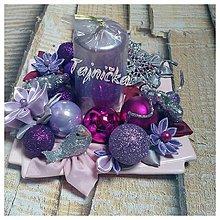 Dekorácie - Fialový vianočný svietnik - 10151787_