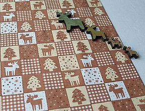 Úžitkový textil - Vianočný obrus -štóla - sobíci - 10152288_