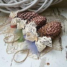 Dekorácie - Vianočné šišky staroružové - 10152360_