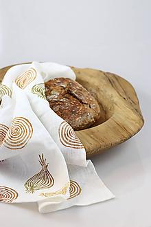 """Úžitkový textil - Biela ľanová utierka s ručnou potlačou """"Cibuľa"""" - 10149869_"""