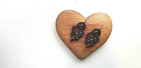 Náušnice - Čokoládová Lujza - soutache earring - 10149030_