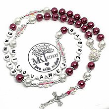 Náhrdelníky - Ruženec perličkový s textom (Vínovo-biely) - 10152488_