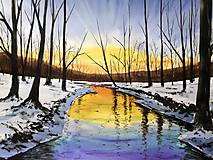 Obraz - Západ slnka pri rieke - 65x50cm